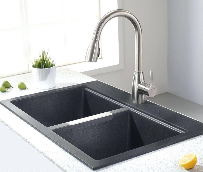 Kitchen Sink Basin Granite L X W Double Basin Dual Mount
