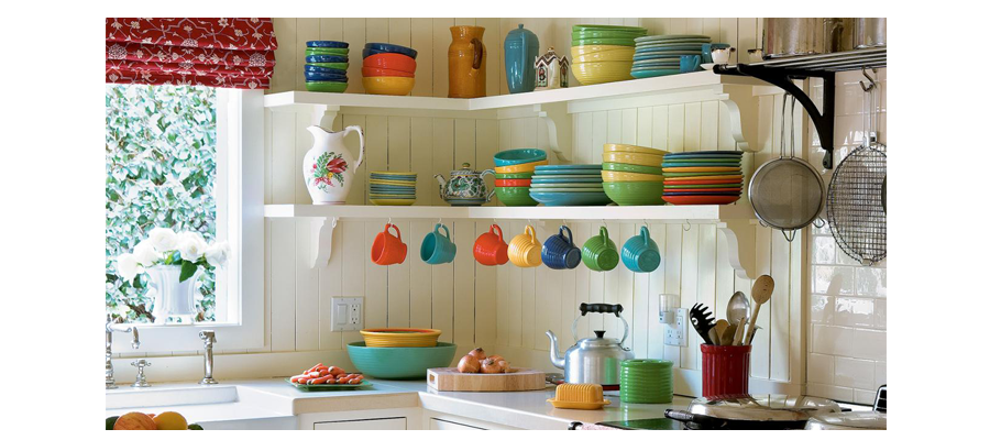 Pops of Colour to All White Kitchen